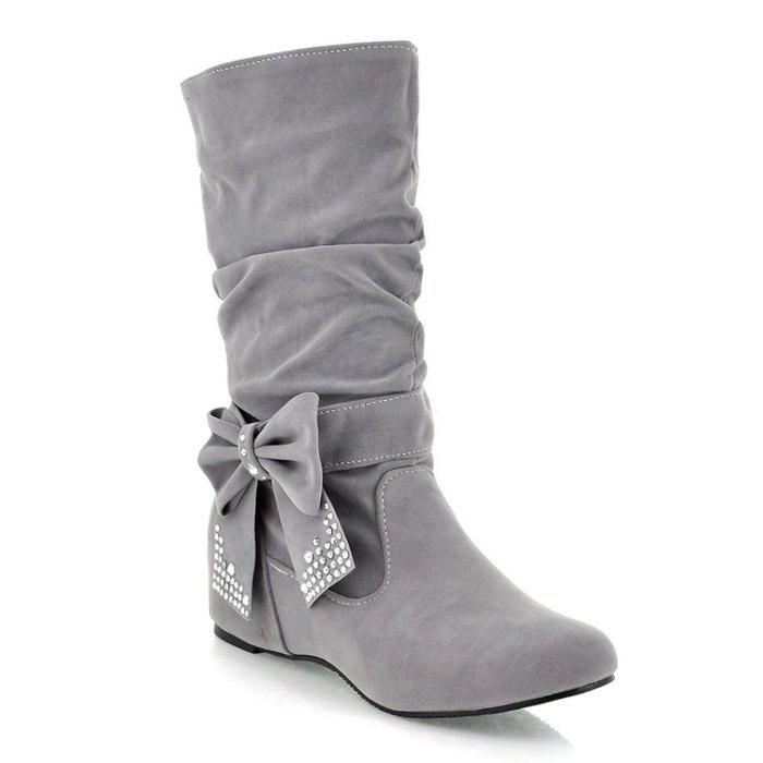Ruched Bowknot Flock Mid Calf Boots - GRAY 38