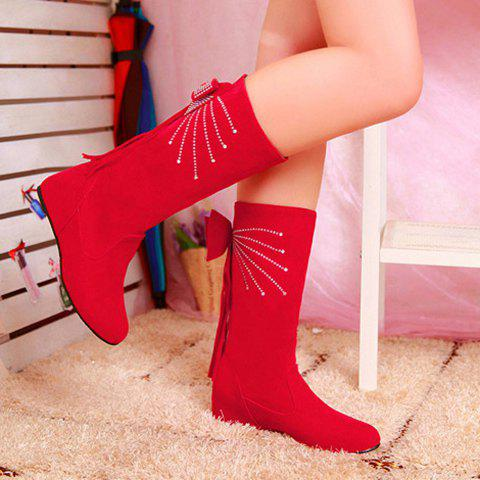 Rhinestone Fringe Bowknot Mid Calf Boots - RED 39