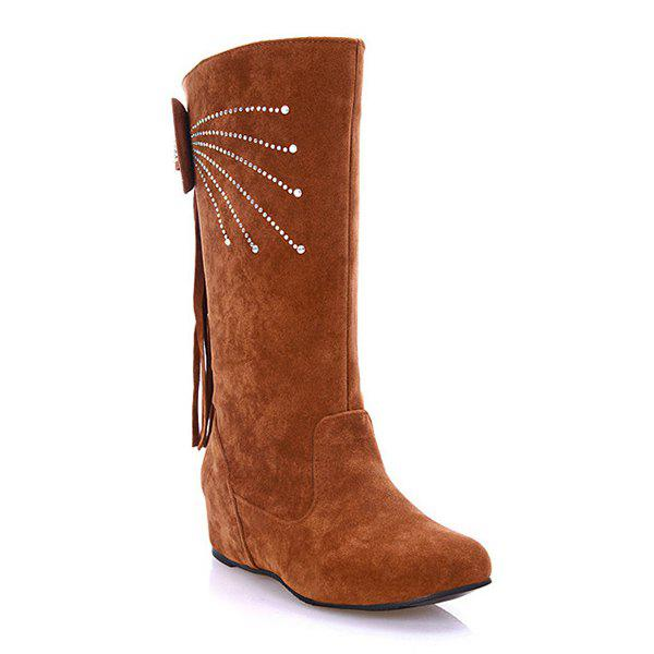 Rhinestone Fringe Bowknot Mid Calf Boots - LIGHT BROWN 38