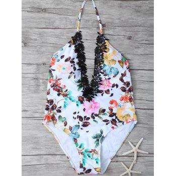 Printed Lace Trim Plunge Swimsuit