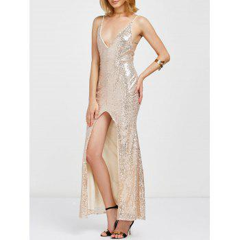 Sparkly Sequins Front Slit Evening Dress