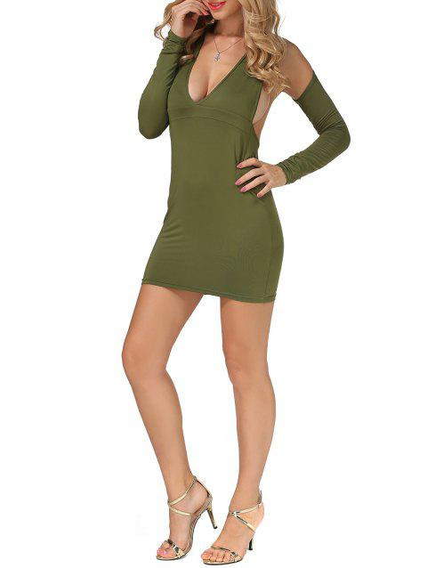 Cold Shoulder Open Back Bodycon Party Bandage Dress - ARMY GREEN M