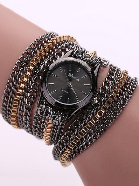 Chain Wrap Bracelet Watch - BLACK