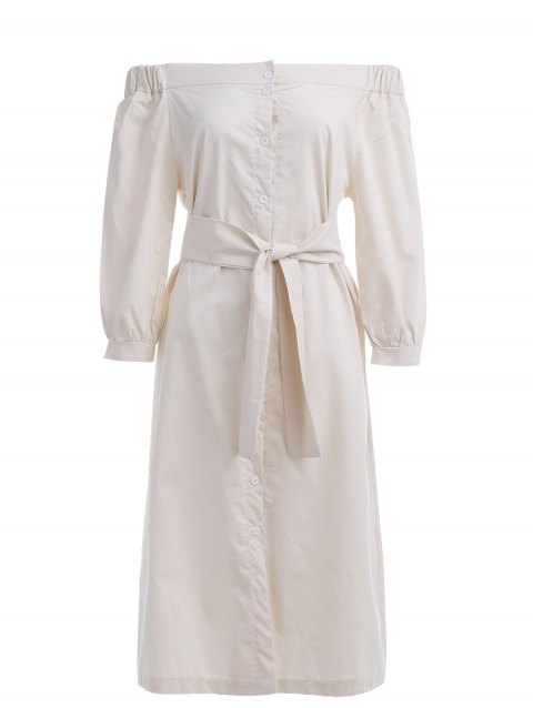 Off The Shoulder Belted Trench Coat - Abricot M