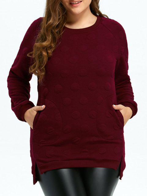 Plus Size Quilted Long Sleeve High Low Top - WINE RED XL