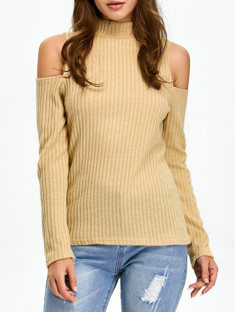 Mock Neck Open Shoulder Knitted Top - KHAKI S