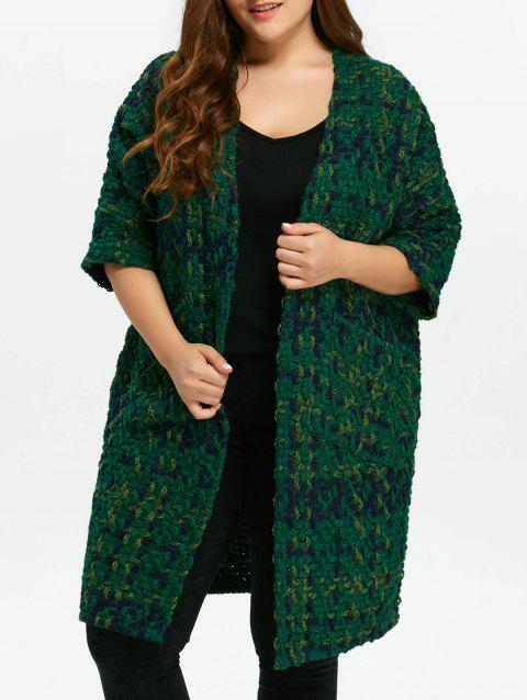 Plus Size Space Dyed Chunky Cardigan - GREEN ONE SIZE