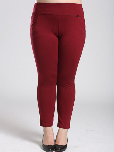 Fleece Stretchy Elastic Waist Skinny Pants - WINE RED 2XL