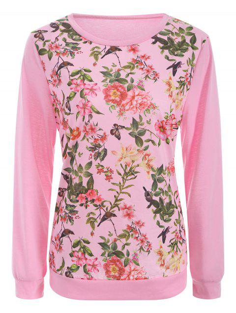 Floral Bird Print Long SLeeve T-Shirt - PINK XL