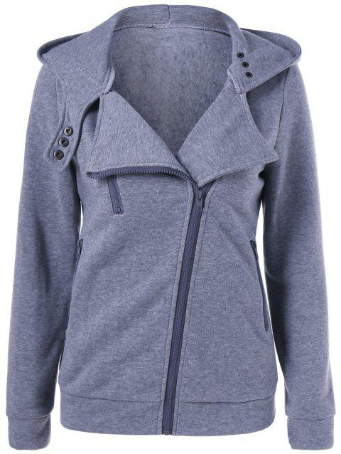 Hooded Skew Zipper Hoodie - GRAY XL