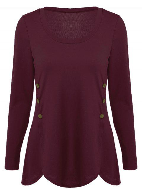 Double-Breasted Asymmetrical T-Shirt - DARK RED 2XL