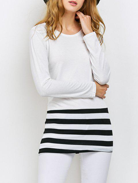 Striped Color Block Tee - WHITE XL