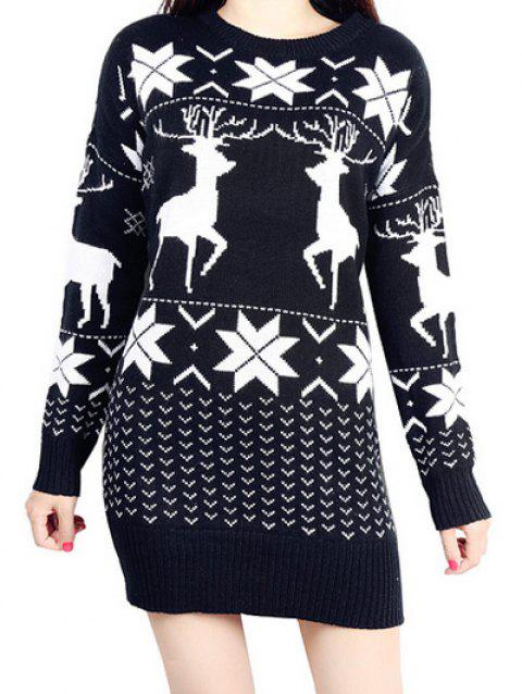 Snowflake Elk Christmas Sweater - BLACK ONE SIZE