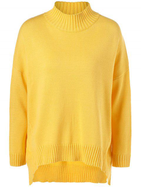 Plus Size Mock Neck Ribbed Sweater - YELLOW XL