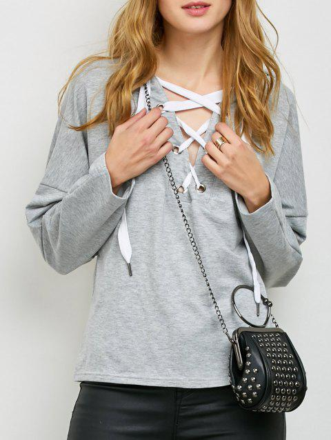 Slouchy Lace Up Hoodie - Gris Clair M