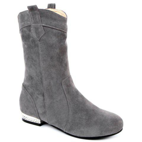 Round Toe Suede Mid-Calf Boots - GRAY 38