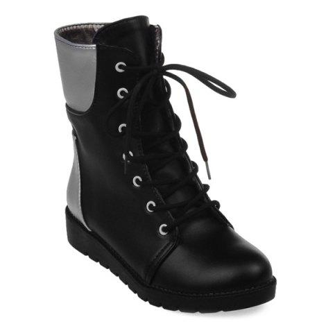 Flat Lace Up Color Block Ankle Boots - BLACK 37