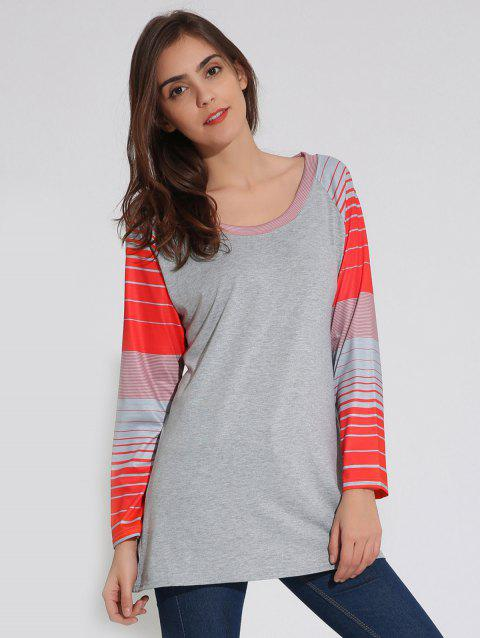 Raglan Sleeve Striped Tunic T-Shirt - GRAY S