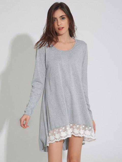 Long Sleeve Asymmetric Swing Dress with Lace - LIGHT GRAY S