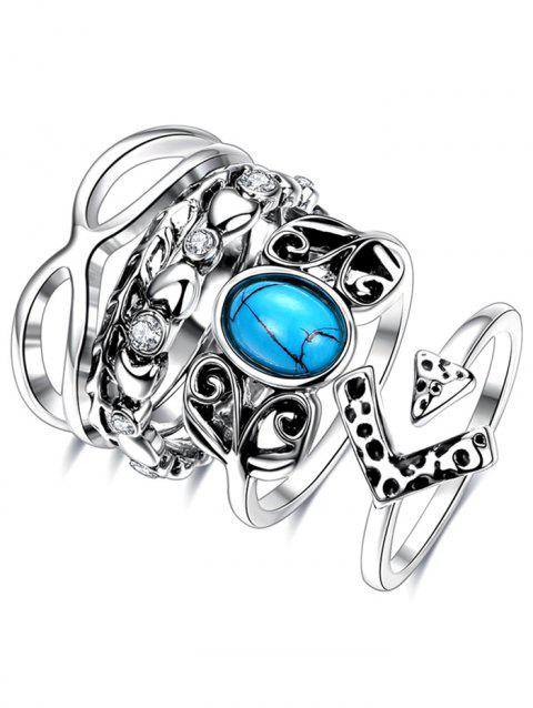 Rhinestone Infinite Ring Set - SILVER 6