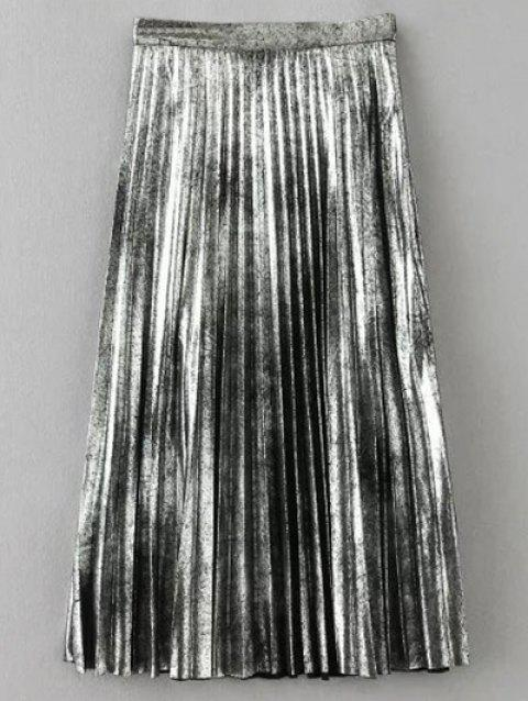 Metallic Color Midi Pleated Skirt - SILVER XS