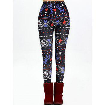 Christmas High Waisted Flocking Leggings - BLACK L