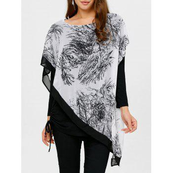 Asymmetrical Chinese Painting Insert Blouse