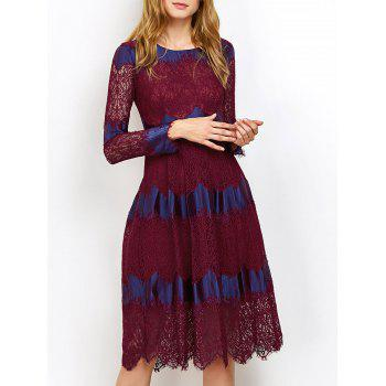 Two Tone Lace Long Sleeve Evening Dress