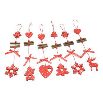 Christmas Decoration 12PCS Wooden Hanging Pendants - RED