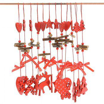Christmas Decoration 12PCS Wooden Hanging Pendants - RED RED