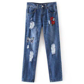 Butterfly Embroidery Ripped Jeans - DENIM BLUE DENIM BLUE