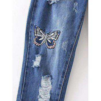 Butterfly Embroidery Ripped Jeans - M M