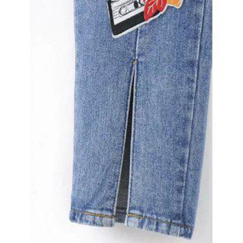 Slit Leg Low Rise Embroidery Jeans - S S