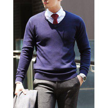 Stretchy V Neck Pullover Knitwear