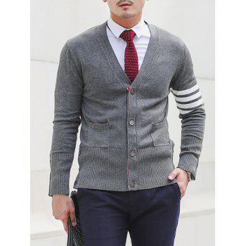 Slim Fit V Neck Pocket Design Striped Cardigan