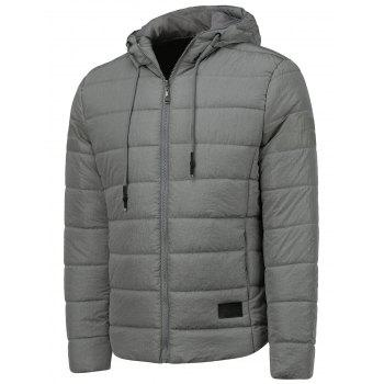 Hooded Stripe Design Drawstring Thicken Down Jacket