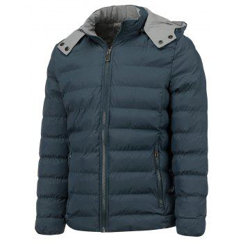 Color Block Zip Up Hooded Thicken Down Jacket