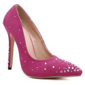 Pointed Toe Rhinestones Flock Pumps