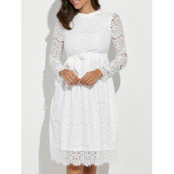 Lace Panel Belted Long Sleeve Dress