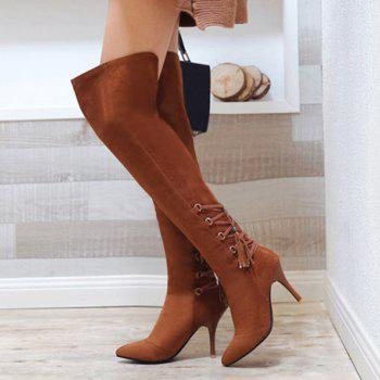 Tie Up Stiletto Heel Taslels Thigh Boots - 37 37