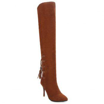 Tie Up Stiletto Heel Taslels Thigh Boots - BROWN 37