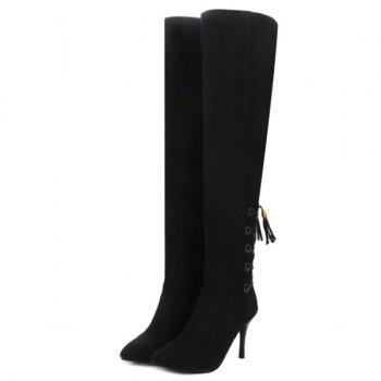 Tie Up Stiletto Heel Taslels Thigh Boots - BLACK BLACK