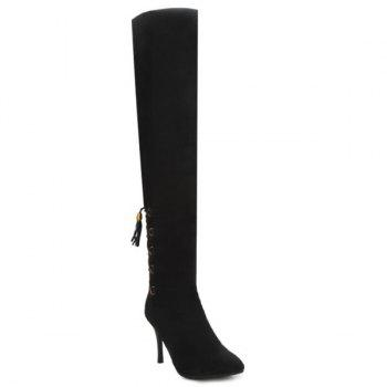 Tie Up Stiletto Heel Taslels Thigh Boots - BLACK 37
