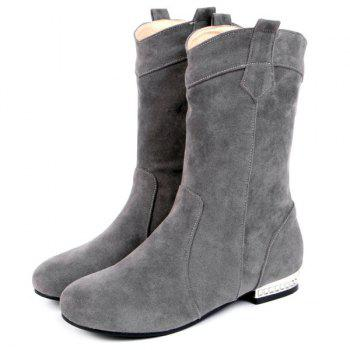 Round Toe Suede Mid-Calf Boots - GRAY GRAY