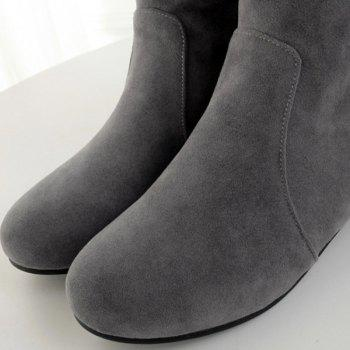 Round Toe Suede Mid-Calf Boots - 38 38