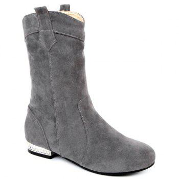 Round Toe Suede Mid-Calf Boots
