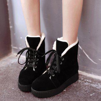 Flat Heel Lace Up Suede Snow Boots - 39 39