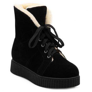 Flat Heel Lace Up Suede Snow Boots - BLACK 39