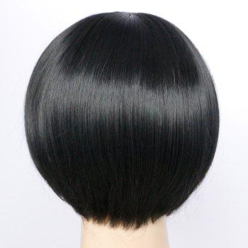 Side Bang Short Straight Heat Resistant Fiber Wig - BLACK