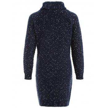 Heathered Turtleneck Bodycon Sweater Dress - PURPLISH BLUE ONE SIZE